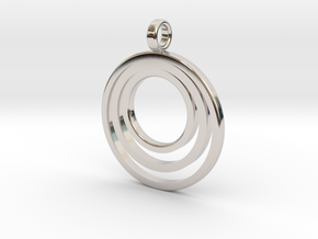 Circle Necklace_3 rings_1 inch v1 in Rhodium Plated Brass: Medium