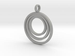 Circle Necklace_3 rings_1 inch v1 in Aluminum: Medium