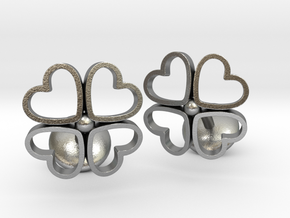 Floral Heart Cufflinks in Natural Silver