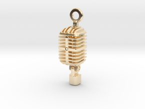 Classic Microphone Pendant in 14K Yellow Gold