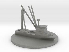Fishing Boat Game Piece on 40mm disk in Gray PA12