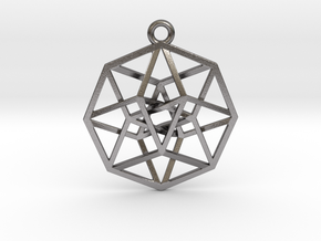 4D Hypercube (Tesseract) small in Polished Nickel Steel