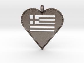 Greek Flag Heart Pendant / Ελληνική σημαία Καρδιά  in Polished Bronzed-Silver Steel