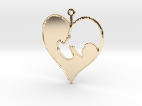 Mother_and_child_pendant in 14k Gold Plated Brass