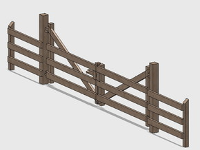 Wood Gate - Double in White Natural Versatile Plastic: 1:87 - HO