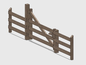 Wood Gate - R-Out Swing in Smooth Fine Detail Plastic: 1:87 - HO