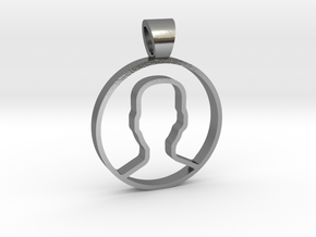 User face [pendant] in Polished Silver