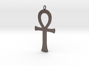 ankh in Polished Bronzed-Silver Steel