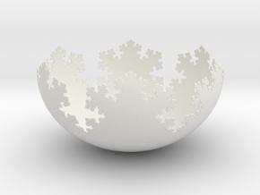 L-System Fractal Bowl in White Natural Versatile Plastic