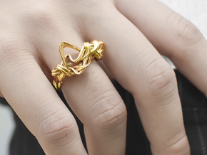 Weaving Ribbons Ring in Rhodium Plated Brass: 7 / 54