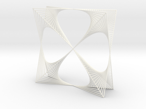 Shape Wired Parabolic Curve Art  Clover Square BV2 in White Processed Versatile Plastic