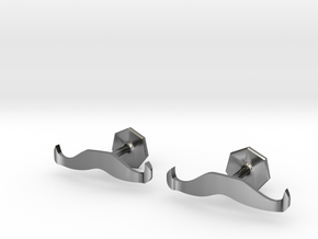Handlebar Mustache Cufflinks in Polished Silver