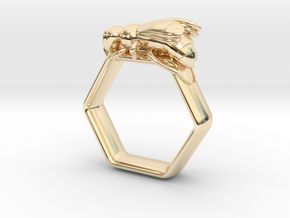 Hex Bee Ring US Size 6 (UK Size M) in 14K Yellow Gold