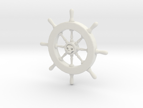 Pirate Ship Wheel Pendant in White Natural Versatile Plastic