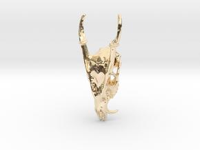 Muntjac Skull Pendant in 14K Yellow Gold