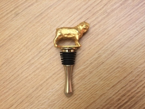 Bulldog Wine Bottle Stopper in Polished Gold Steel
