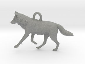Running Wolf Pendant in Gray PA12
