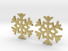 Snowflake earrings in Natural Brass
