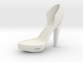 Left Leather-Strap High Heel in White Natural Versatile Plastic
