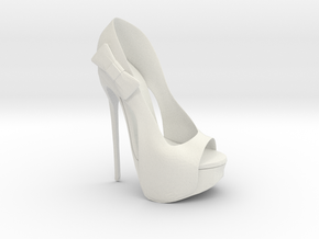 Right Peeptoe High Heel with Bow in White Natural Versatile Plastic
