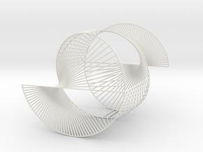 Half Inverted Cardioid Geometric 3D String Art V1 in White Natural Versatile Plastic