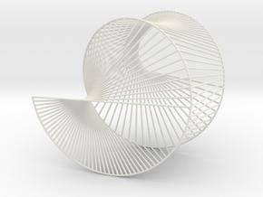 Cardioid Geometric 3D String Art V1 in White Natural Versatile Plastic