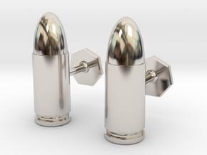 9mm Cartridge Cufflinks in Rhodium Plated Brass