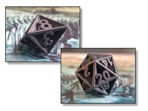 Plunged Sides Dice Set in Polished and Bronzed Black Steel