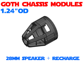GCM124 - 28mm speaker + recharge port combo in White Natural Versatile Plastic