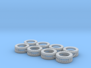 1:87 HO Pneumatic Tractor Tires 8 pair in Smooth Fine Detail Plastic