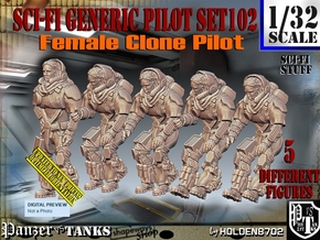 1/32 Sci-Fi Generic Female Pilot Set102 in White Natural Versatile Plastic