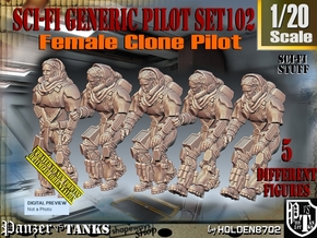 1/20 Sci-Fi Generic Female Pilot Set102 in White Natural Versatile Plastic