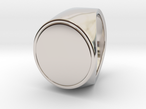 Signe  -  Unique US 7 Small Band Signet Ring in Rhodium Plated Brass
