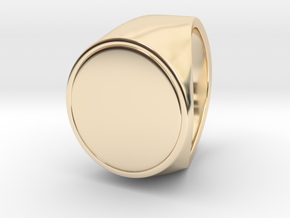Signe  -  Unique US 10 Small Band Signet Ring in 14k Gold Plated Brass