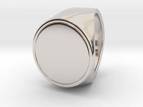 Signe  -  Unique US 11 Small Band Signet Ring in Rhodium Plated Brass