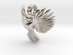 Chickadee pendant (inspired by blue tit) in Platinum