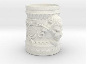 Lion Cup in White Natural Versatile Plastic