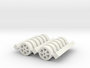 H0 1/87 M4 Sherman Spare Wheels (6 spoke). in White Natural Versatile Plastic