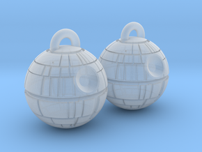 Death Star Earrings in Smooth Fine Detail Plastic