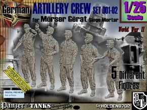1/25 German Artillery Crew Set001-02 in White Natural Versatile Plastic
