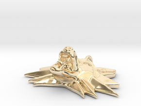 Witcher Fox Pendant 43mm in 14k Gold Plated Brass