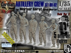 1/35 German Artillery Crew Set001-02 in Smooth Fine Detail Plastic