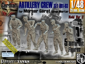 1/48 German Artillery Crew Set001-03 in Smooth Fine Detail Plastic