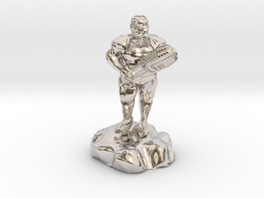 hill dwarf with greatclub in Rhodium Plated Brass
