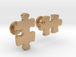 puzzle piece cufflinks in Natural Bronze