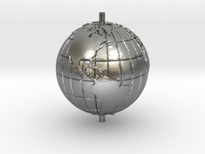 "World 1.25"" (Globe) in Natural Silver"