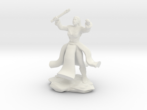 Water Genasi Druid with Wand of Magic Missile. in White Natural Versatile Plastic