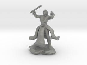 Water Genasi Druid with Wand of Magic Missile. in Gray Professional Plastic