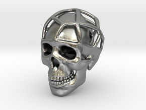 Double Skull Pendant in Natural Silver