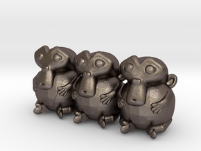 Triple Monkey Colored in Polished Bronzed-Silver Steel